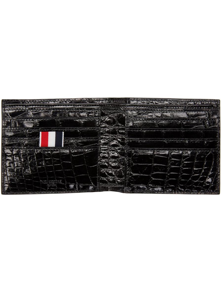 THOM BROWNE Black Alligator Wallet