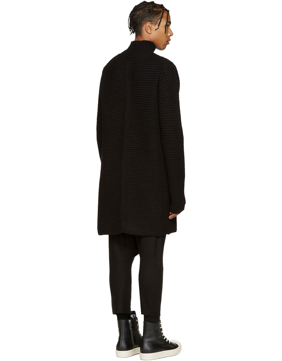 RICK OWENS Black Oversized Turtleneck