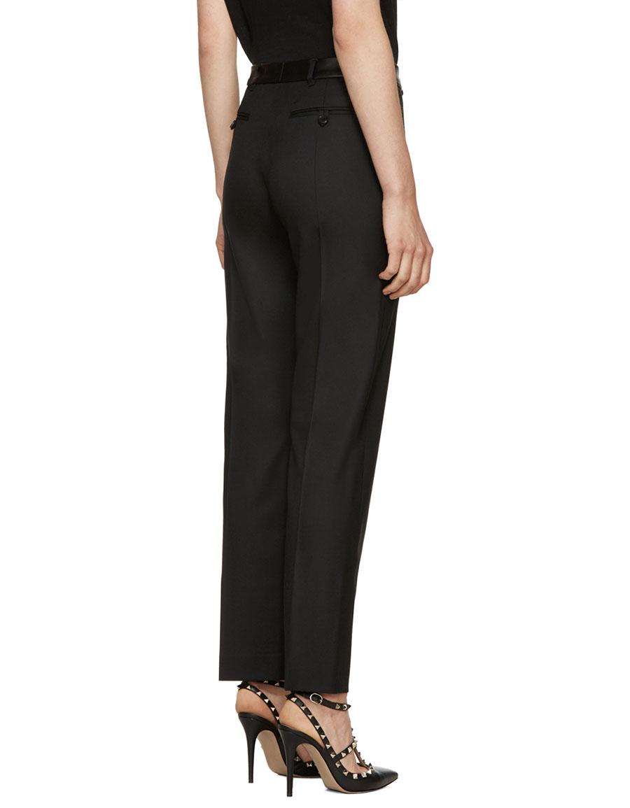 VALENTINO Black Slim Wool Trousers