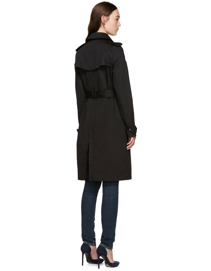 SAINT LAURENT Black Gabardine Trench Coat
