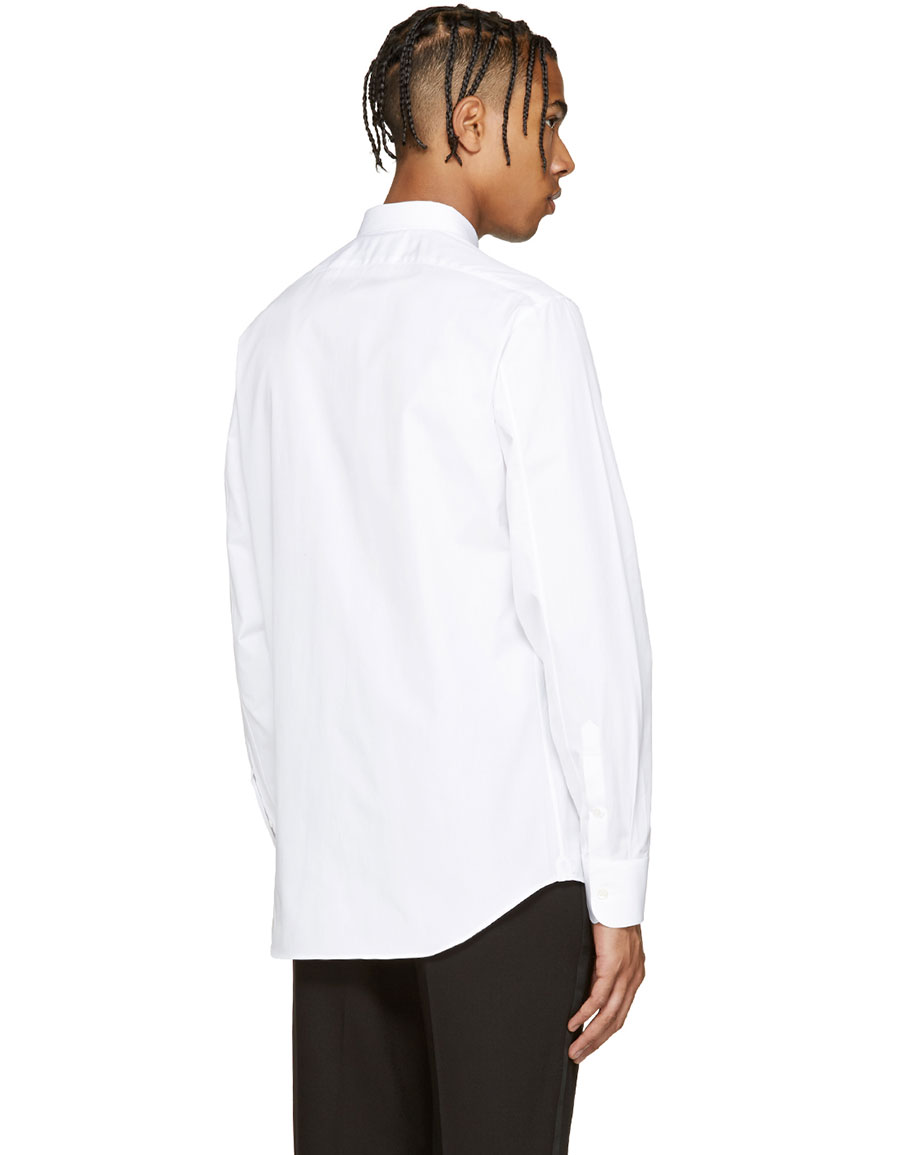 ALEXANDER MCQUEEN White Embroidered Floral Shirt