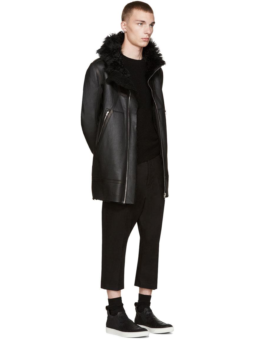 RICK OWENS Black Shearling Showter Jacket