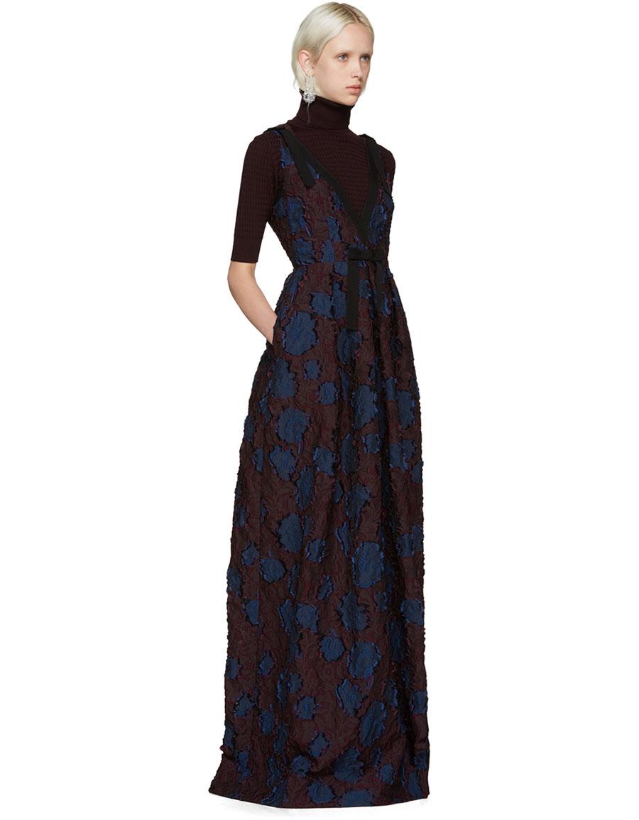 ERDEM Burgundy & Navy Ceren Dress