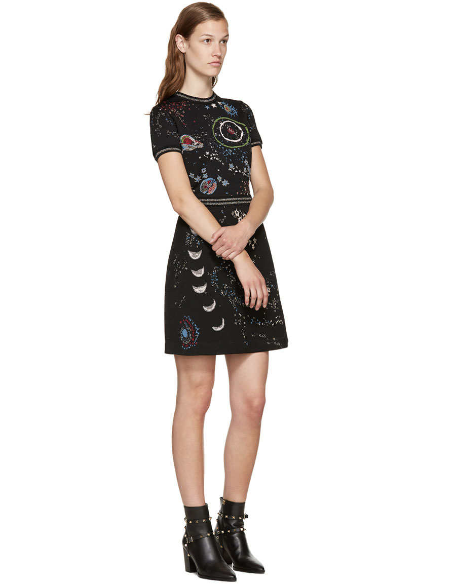 VALENTINO Black Jacquard Astro Dress