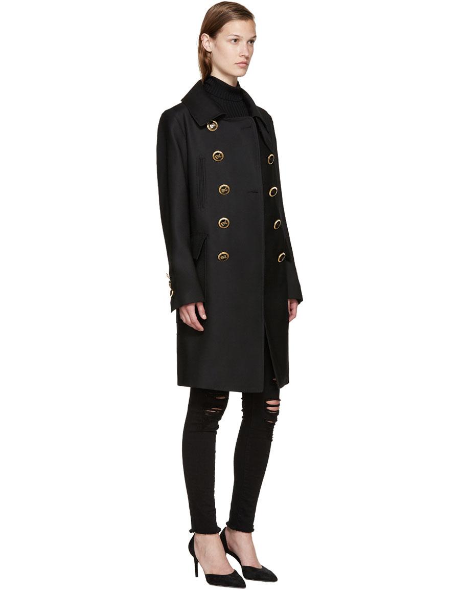 DSQUARED2 Black Golden Lyon Trench Coat
