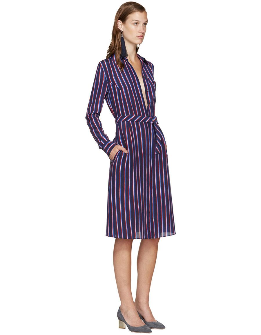 ALTUZARRA Navy Striped Marian Dress
