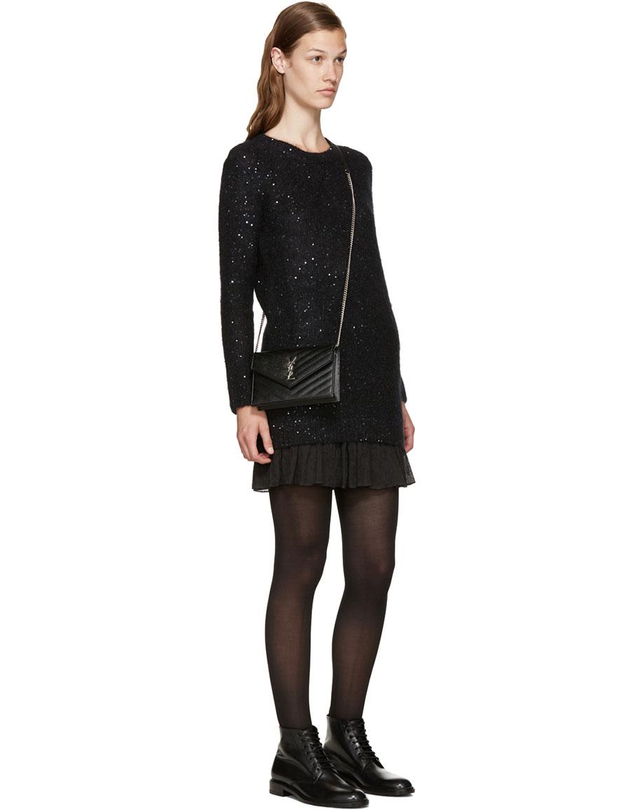 SAINT LAURENT Black Calf Hair Sequin Sweater