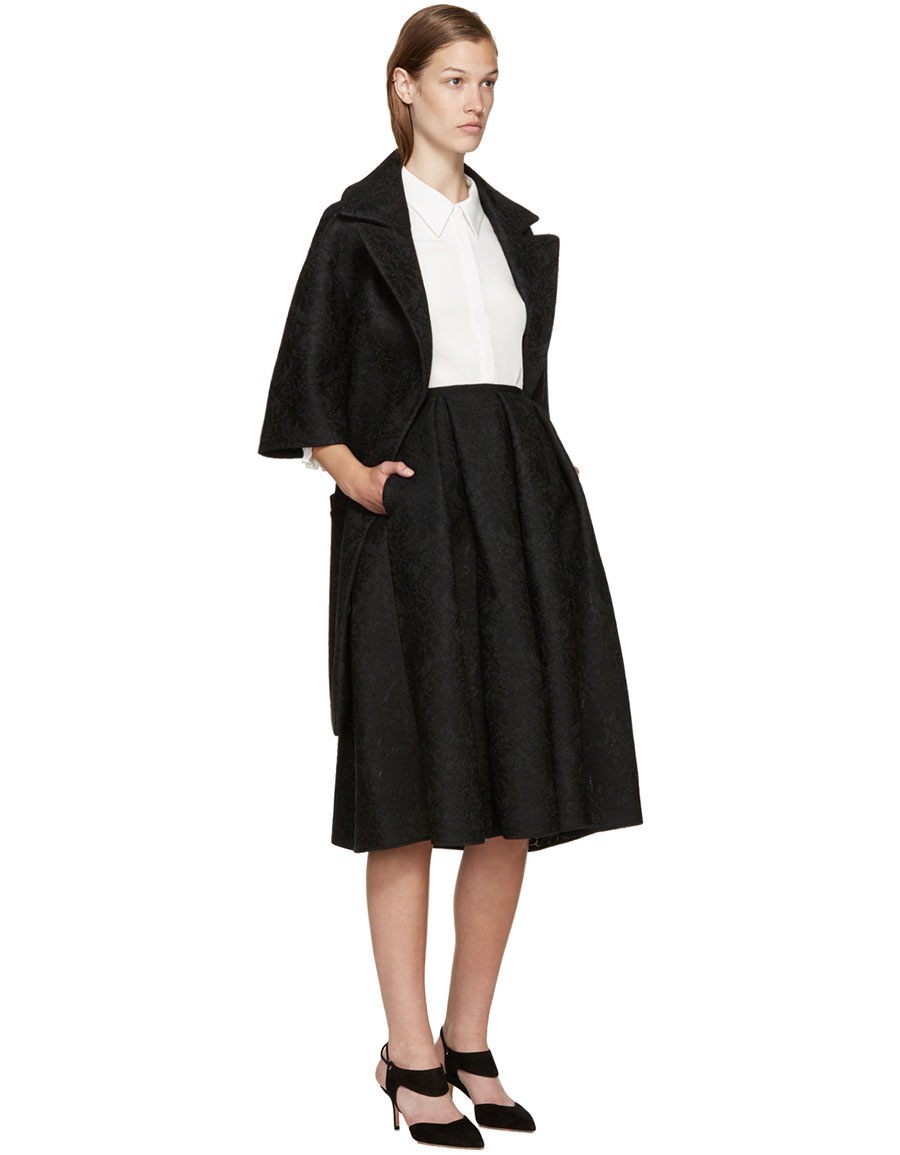 ERDEM Black Mesh Lace Kit Dress