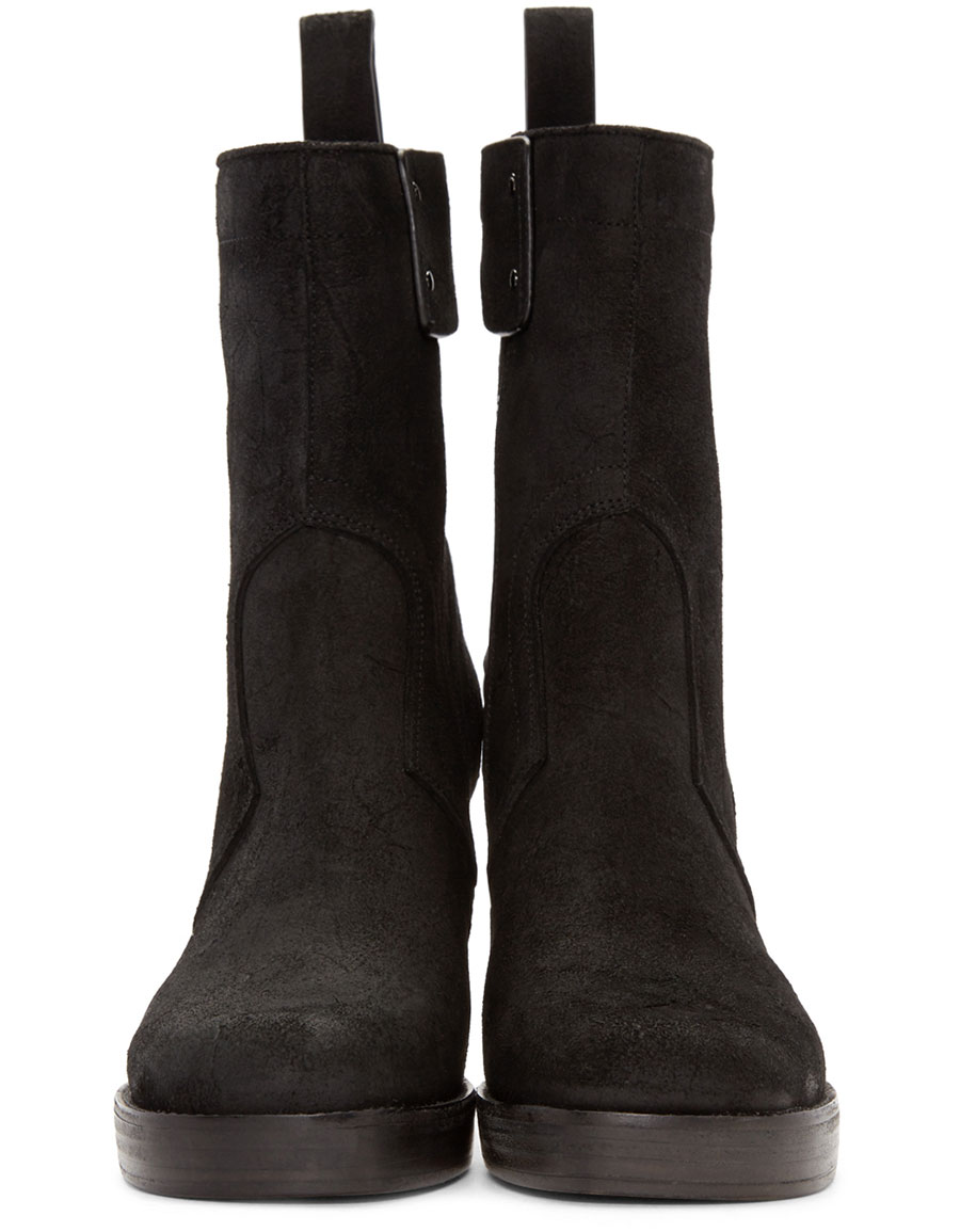 RICK OWENS Black Suede Stiletto Platform Boot