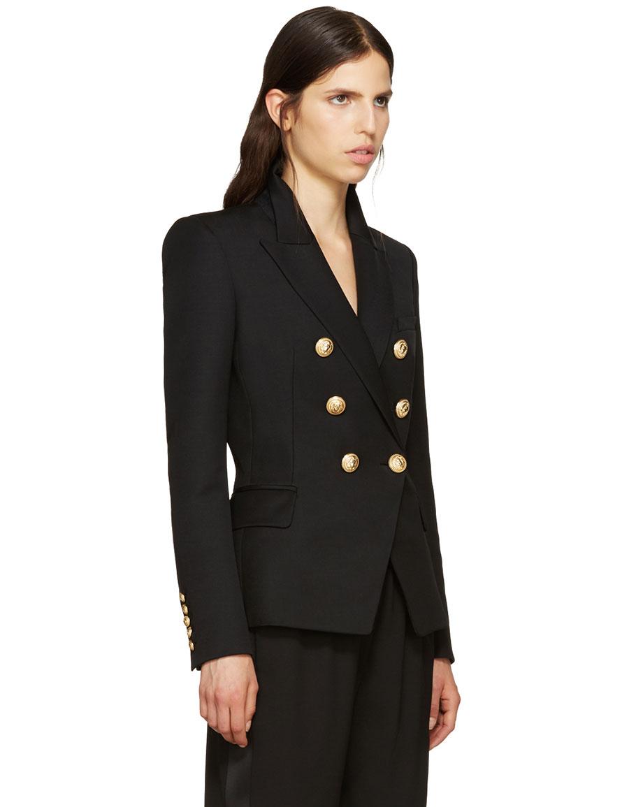 BALMAIN Black Wool Classic Blazer