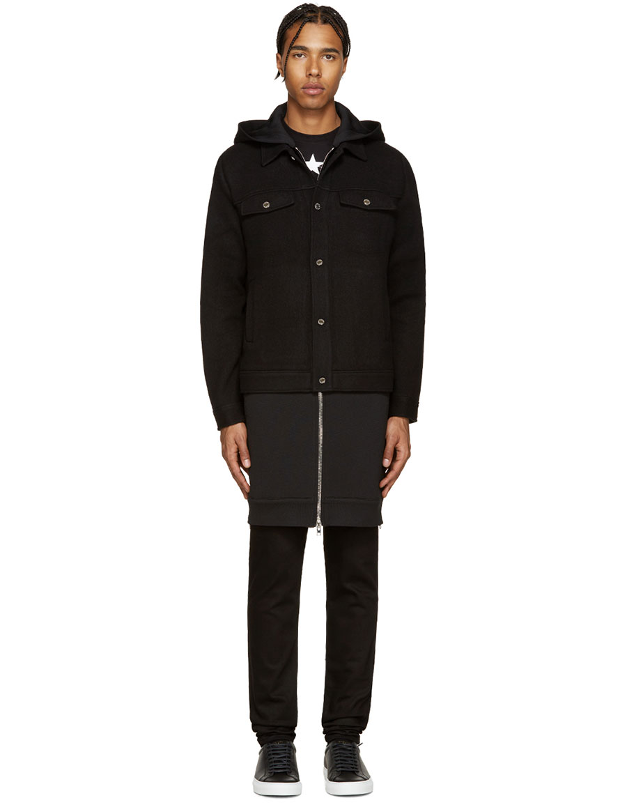 GIVENCHY Black Wool Layered Coat