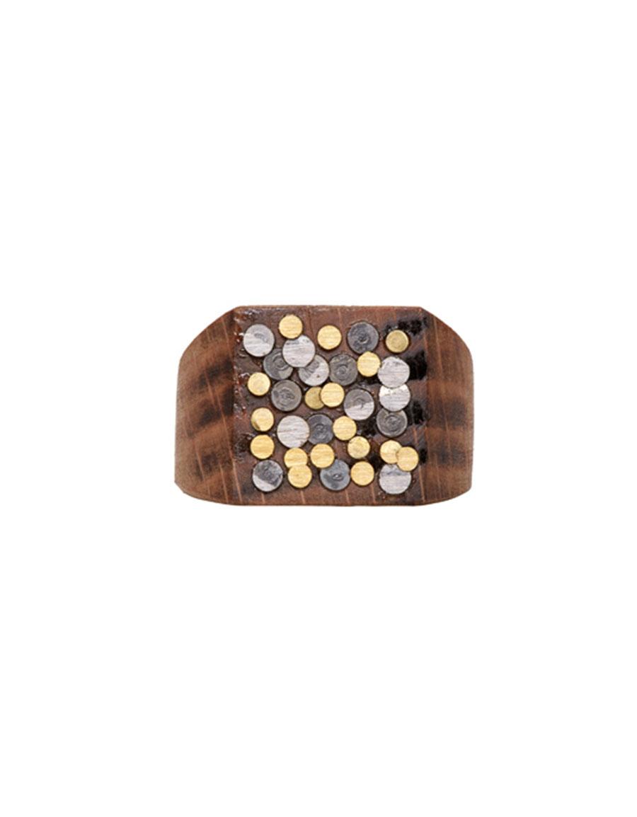 MAISON MARGIELA Beige Wood & Nail Ring