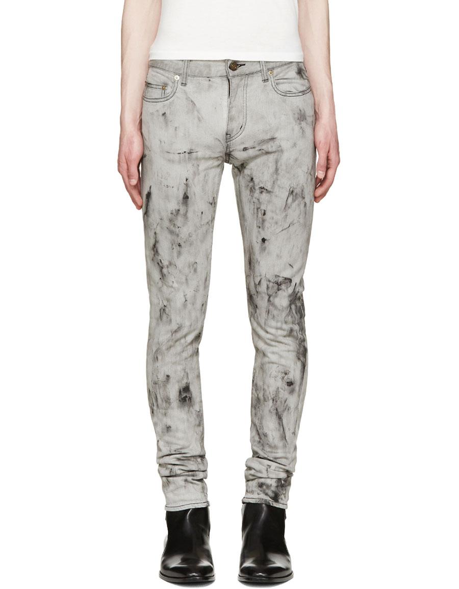 SAINT LAURENT Grey Marbled Skinny Jeans