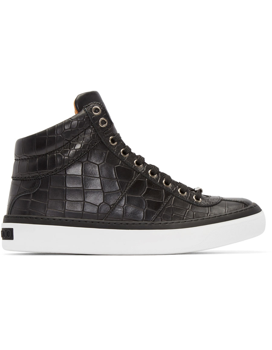 c96d3c12738 JIMMY CHOO Black Croc-Embossed Belgravia High-Top Sneakers ...