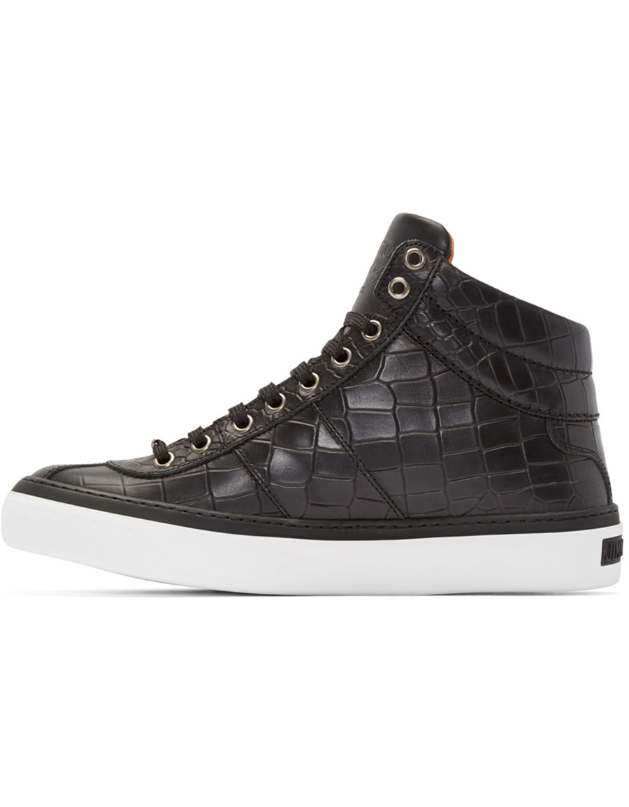 JIMMY CHOO Black Croc Embossed Belgravia High Top Sneakers