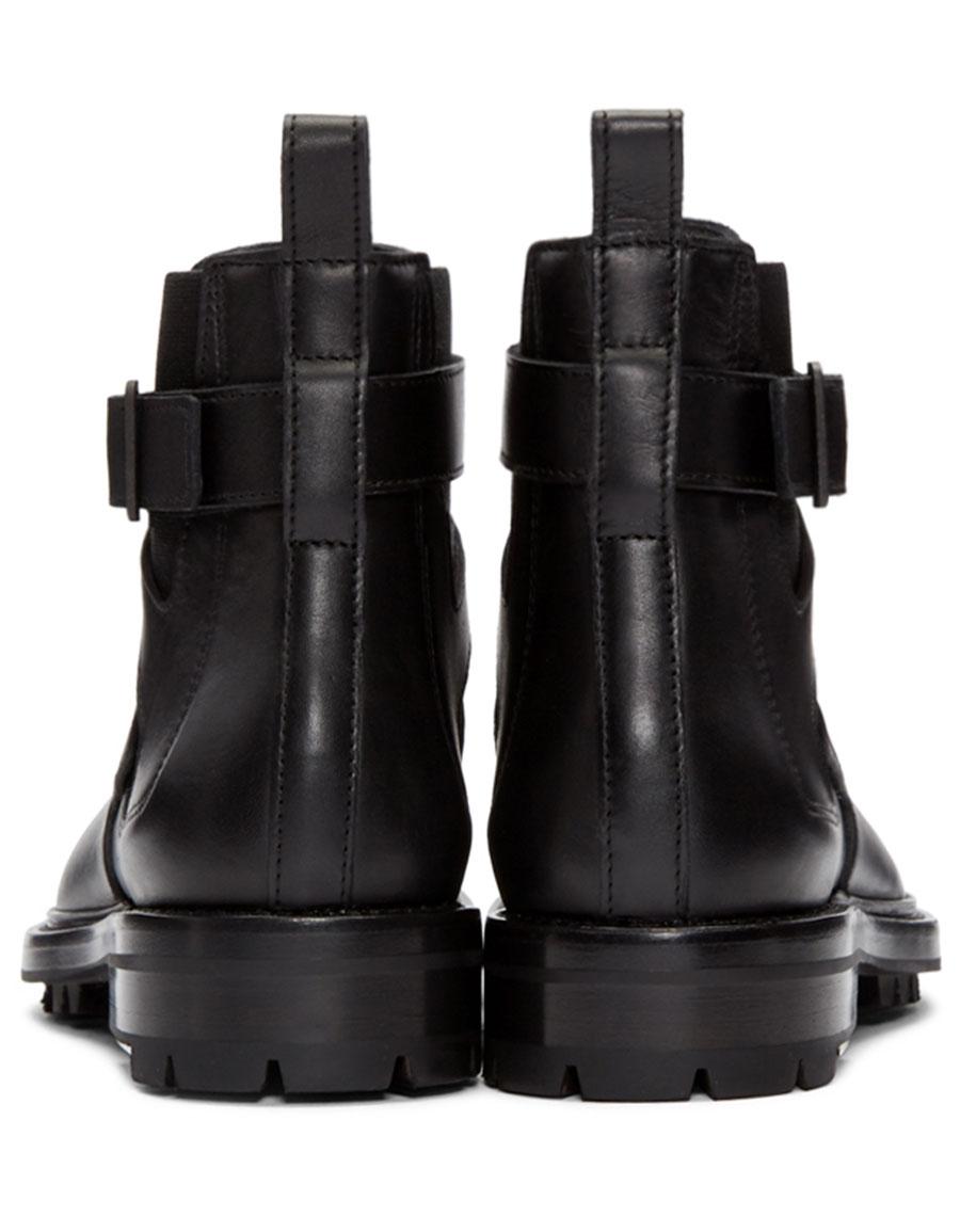 LANVIN Black Leather Straps Boots
