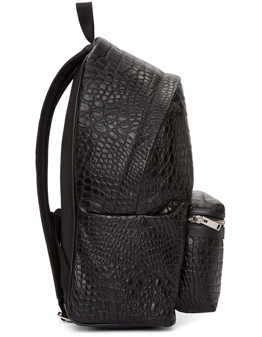 SAINT LAURENT Black Croc Embossed Leather Backpack