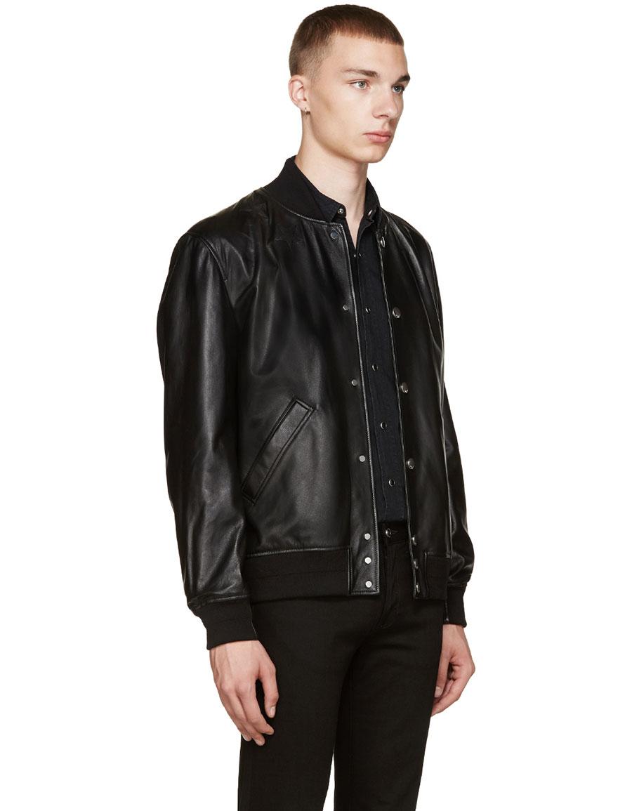 GIVENCHY Black Leather Stars Bomber Jacket
