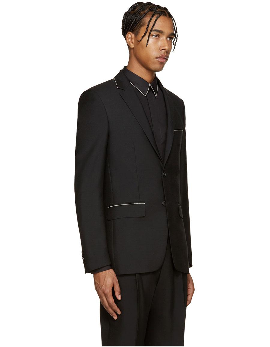 GIVENCHY Black Wool Chain Blazer