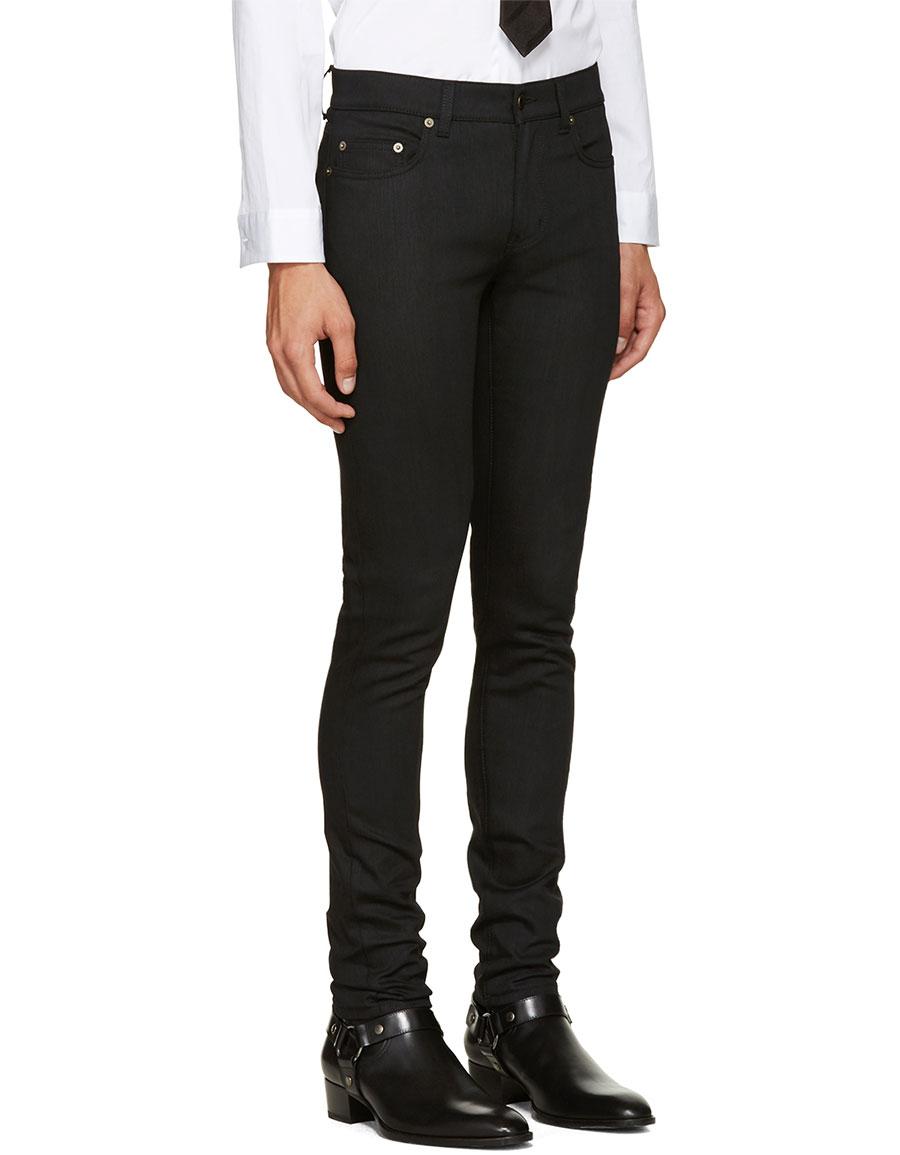 SAINT LAURENT Black Raw Denim Jeans