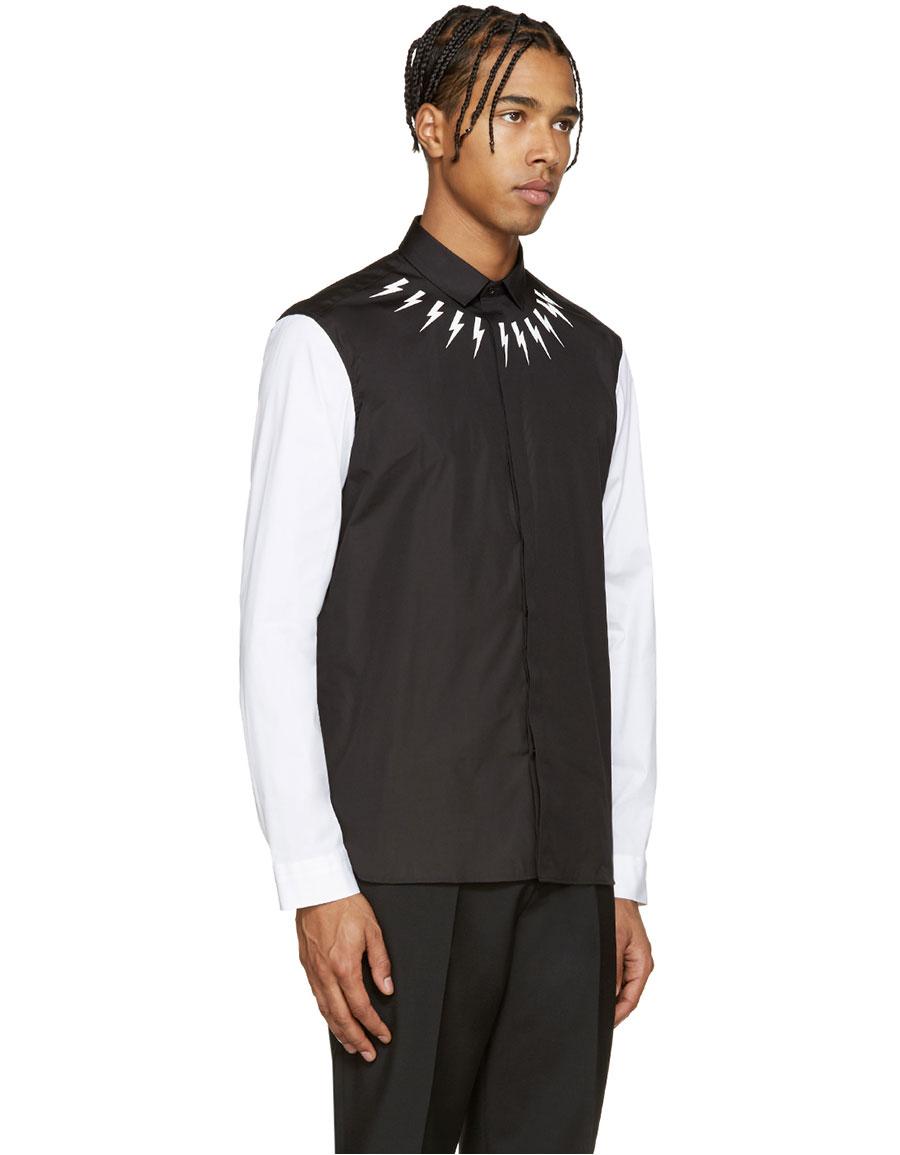 NEIL BARRETT Black & White Thunderbolt Shirt