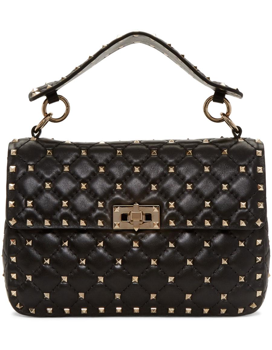 VALENTINO Black Medium Rockstud Matelassé Bag