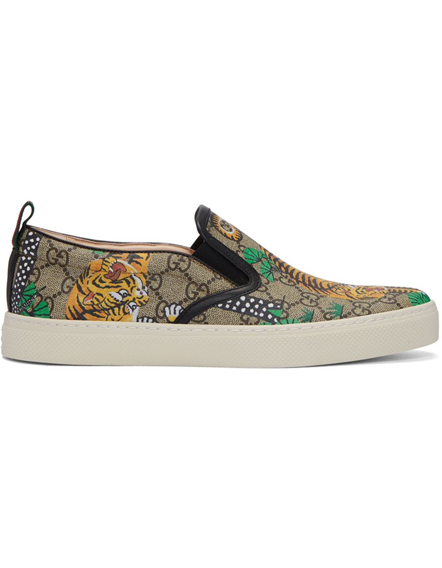 GUCCI Brown Bengal Dublin Slip On Sneakers