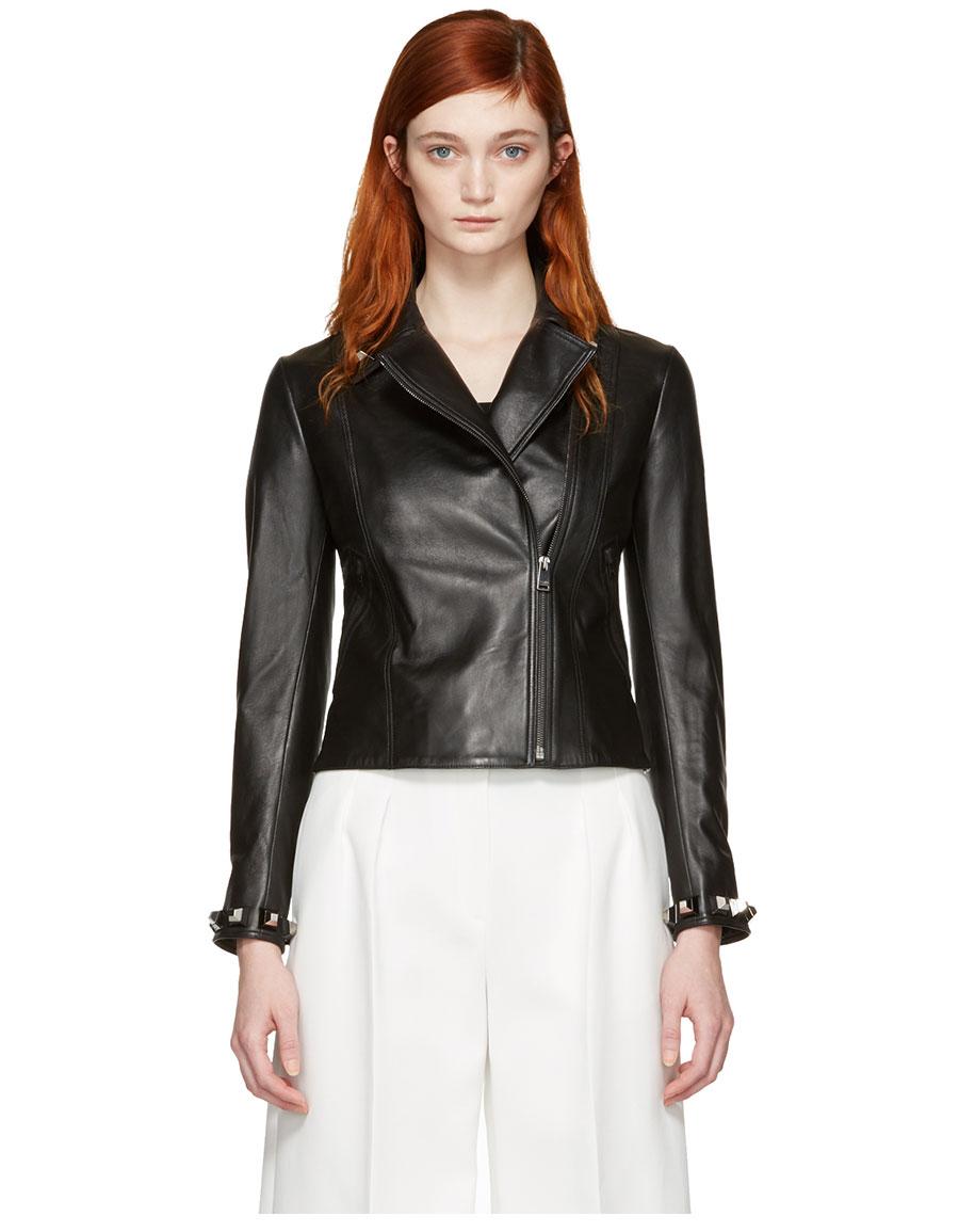 FENDI Black Leather Studded Jacket