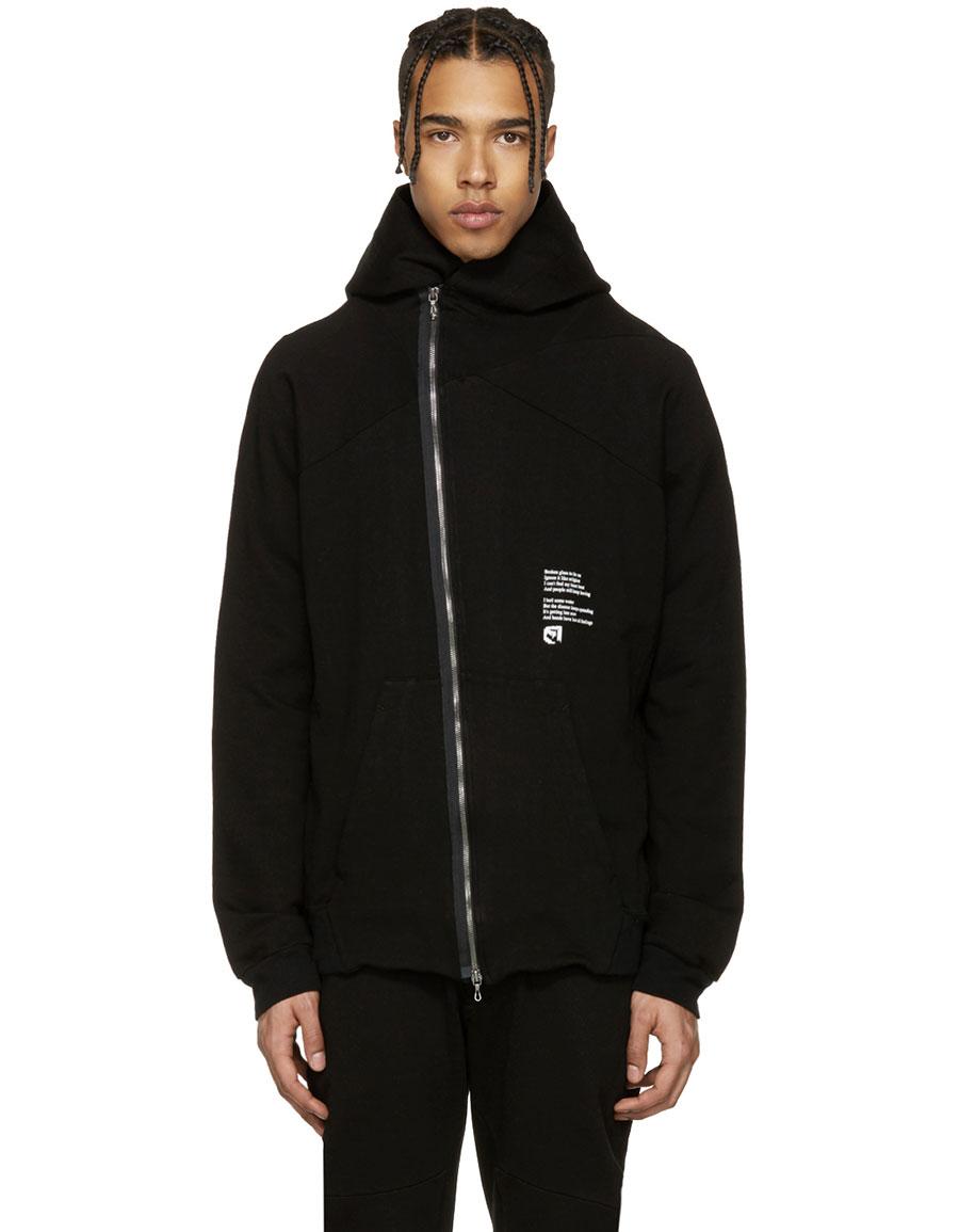 JULIUS Black Asymmetric 'Dust' Zip Up Hoodie