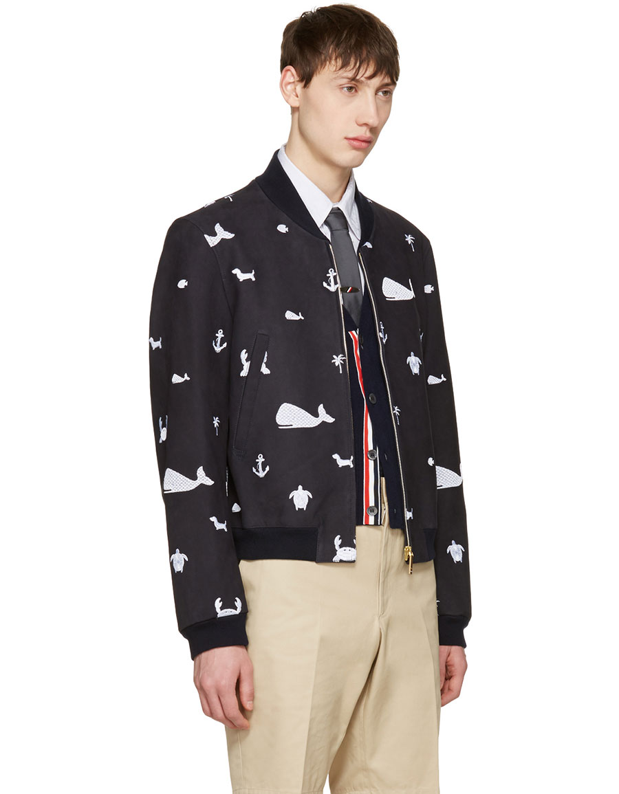 THOM BROWNE Navy Funmix Icon Varsity Jacket