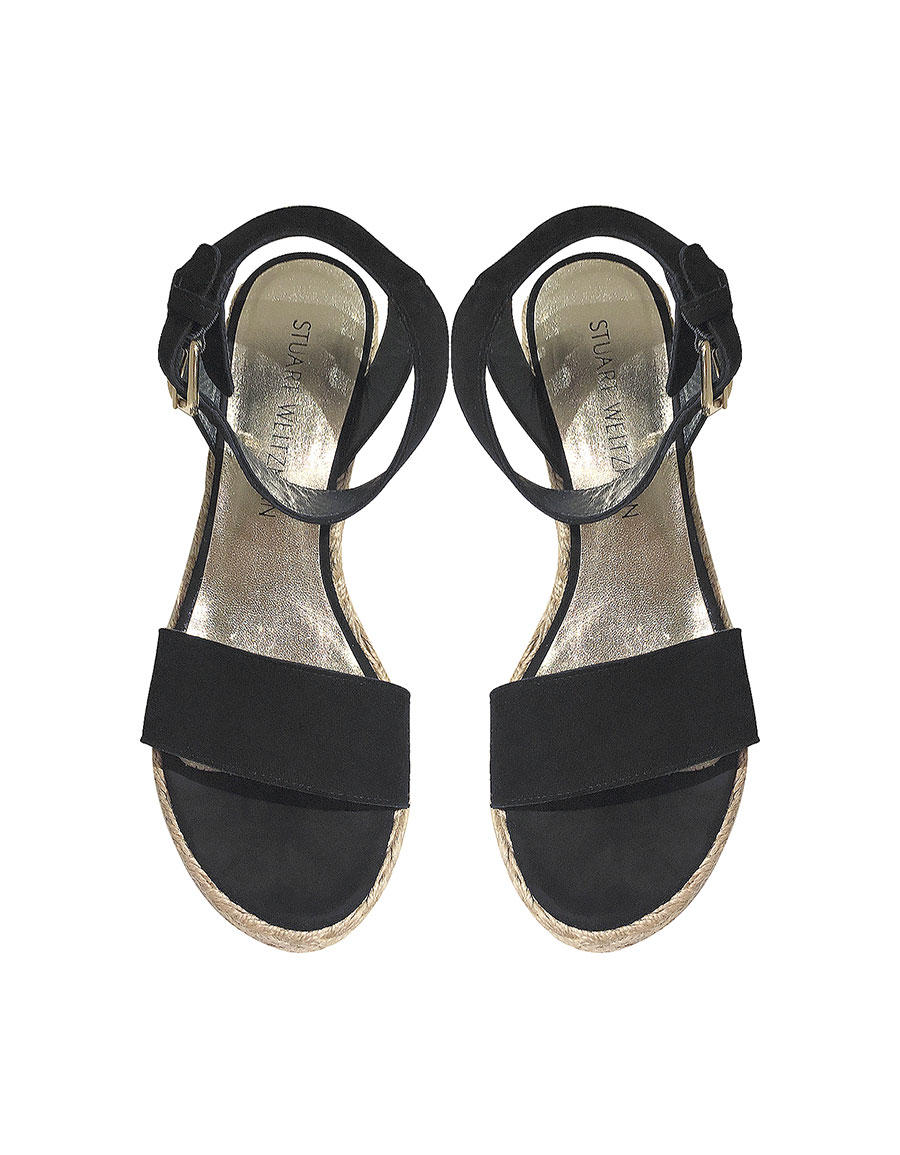 STUART WEITZMAN Letsdance Black Suede Wedge Sandals