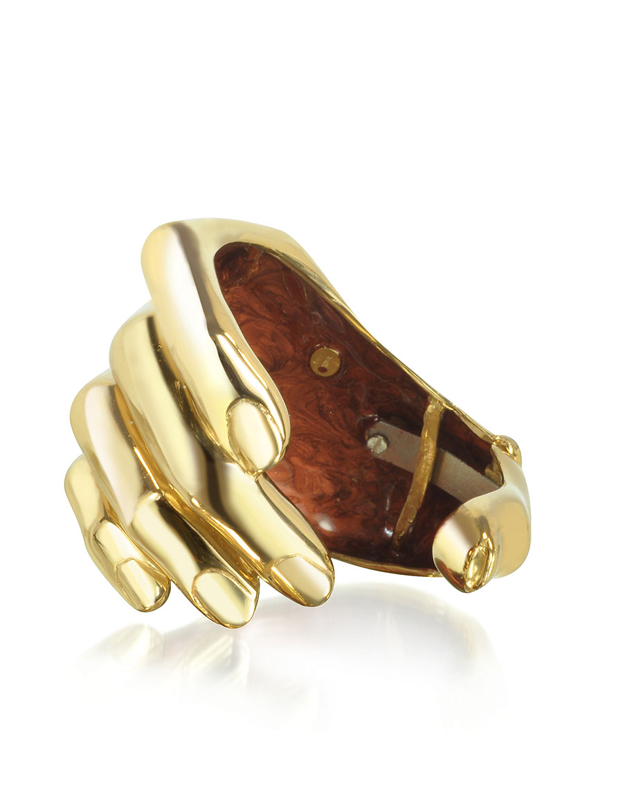 BERNARD DELETTREZ Hand Bronze Cuff Bracelet