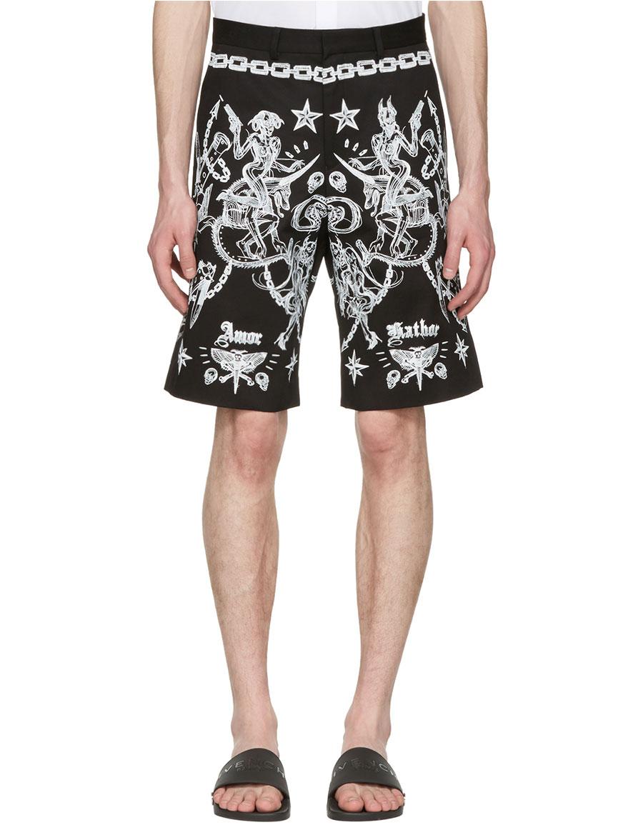GIVENCHY Black Tattoo Print Shorts