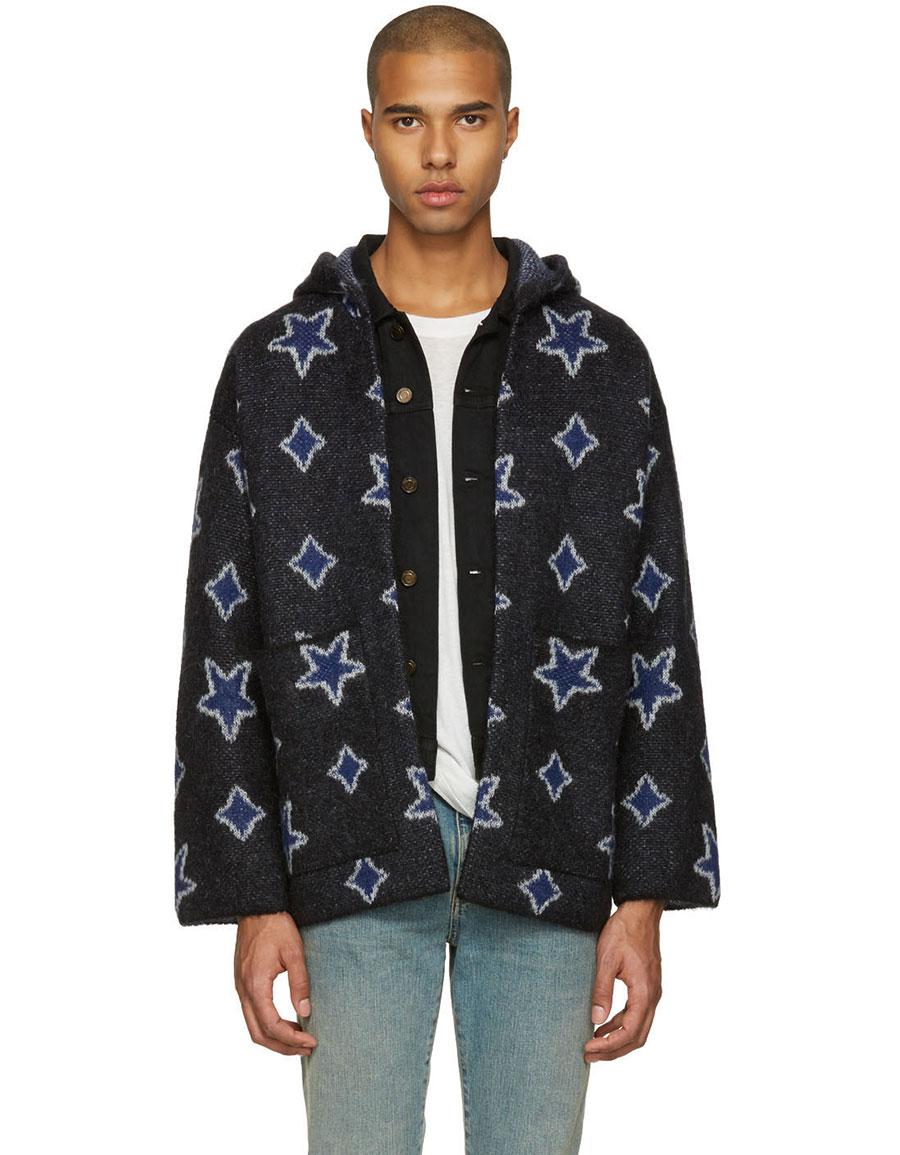 SAINT LAURENT Black Star Oversized Cardigan