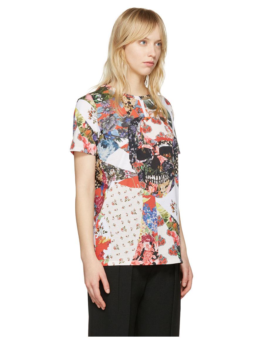 ALEXANDER MCQUEEN White Floral Skull Classic T Shirt