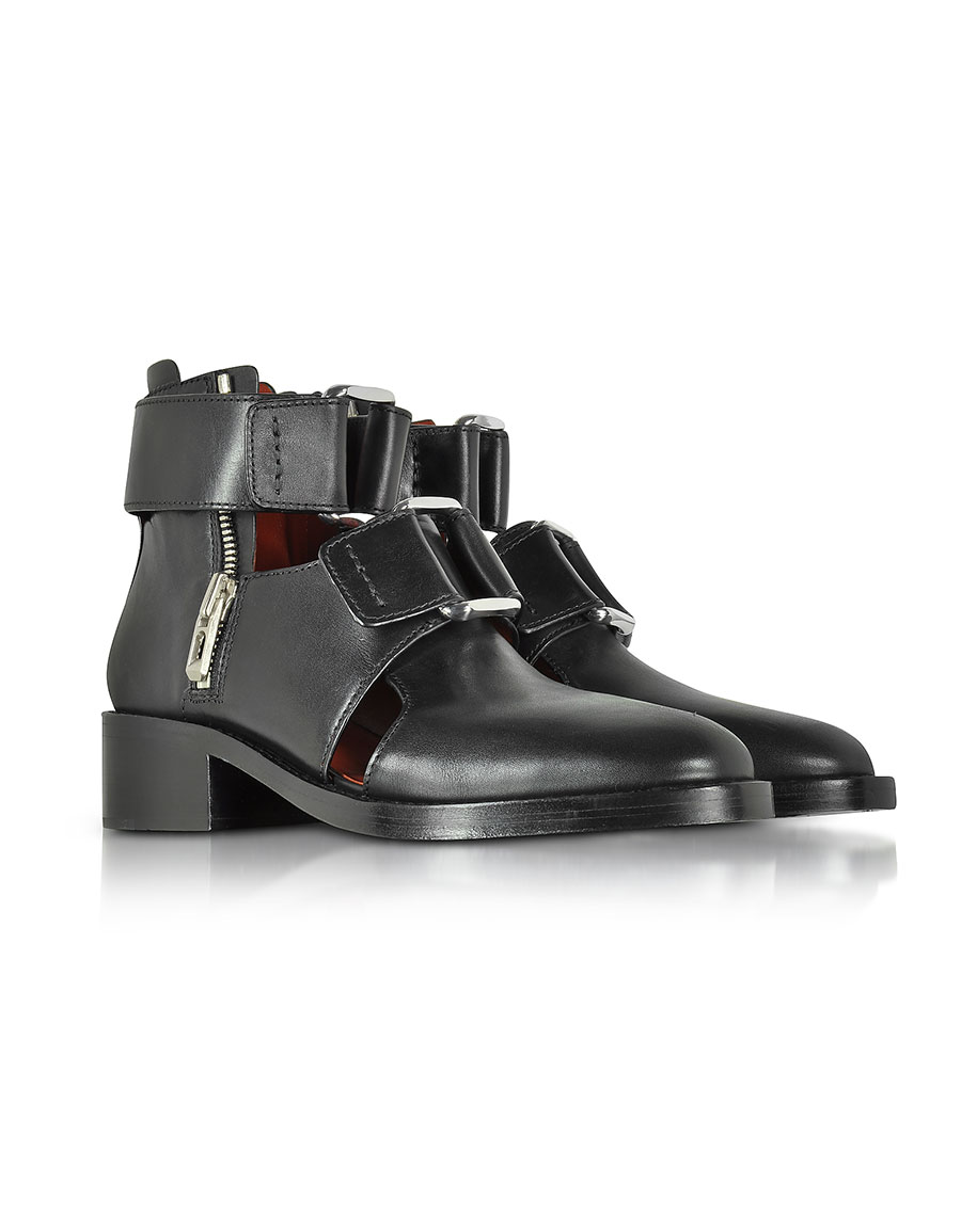 3.1 PHILLIP LIM Black Leather Addis Cut Out Boot