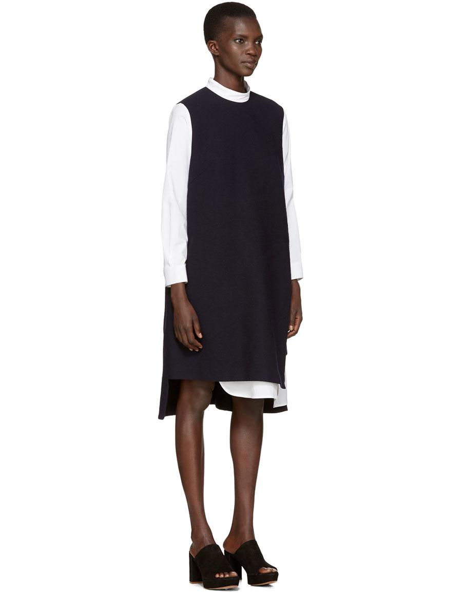 ENFOLD Navy Layered Shirt Dress