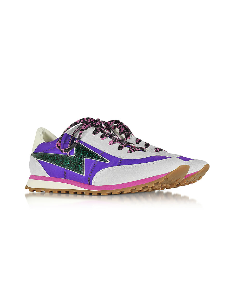 0c44df84a MARC JACOBS Astor Purple & Multicolor Nylon Sneaker w/Lightning Bolt Logo