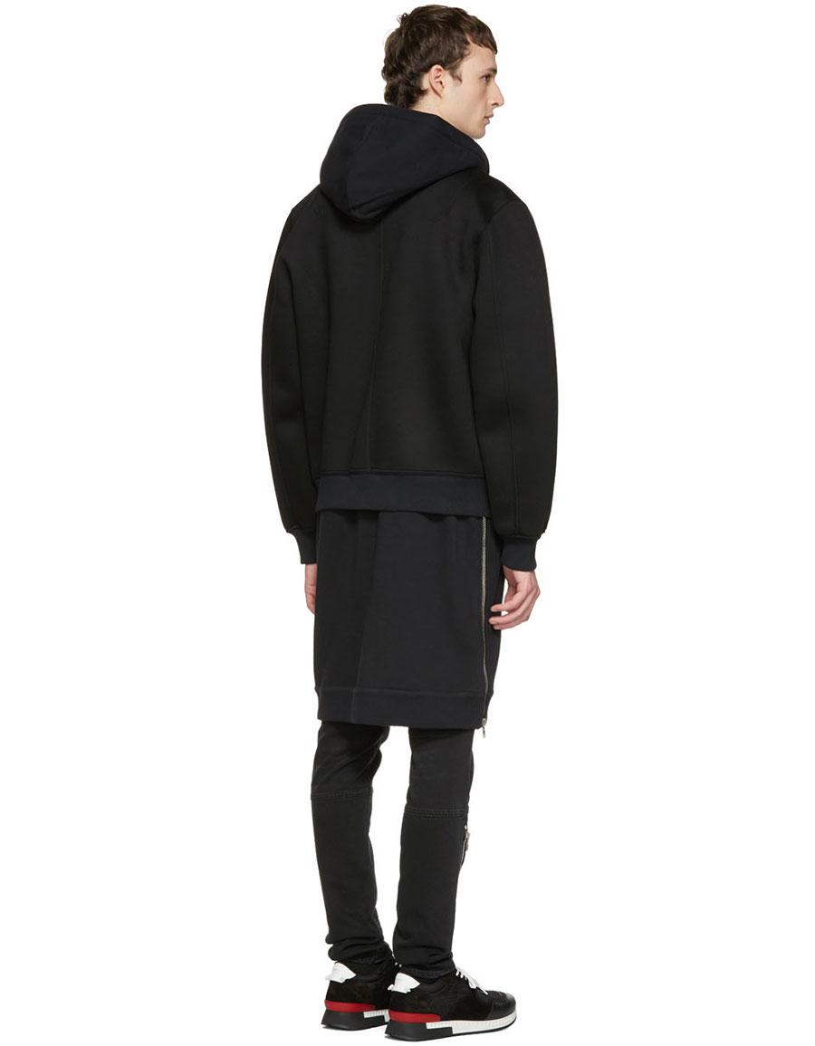 GIVENCHY Black Neoprene Layered Coat