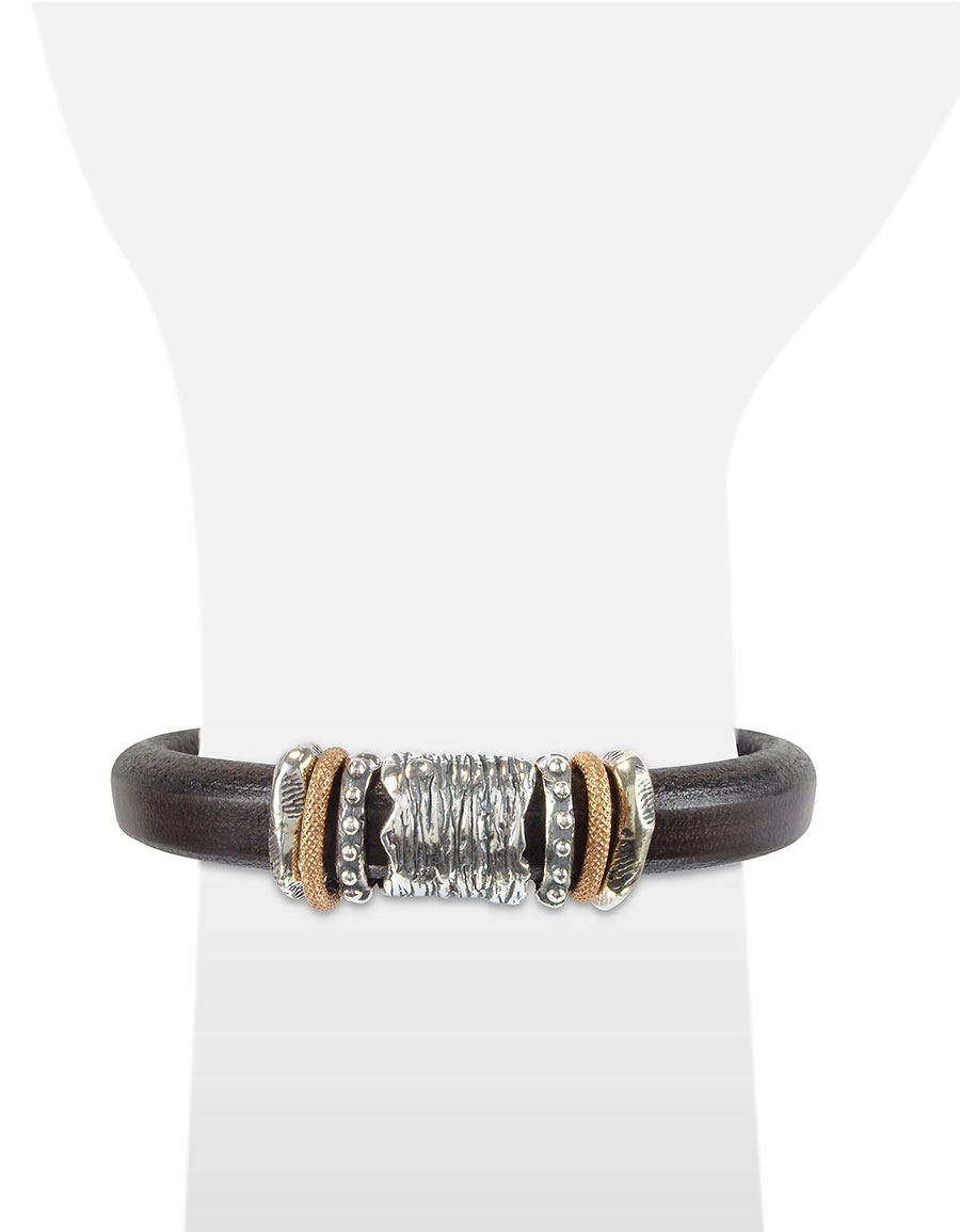 TEDORA Silver Band Leather Bracelet