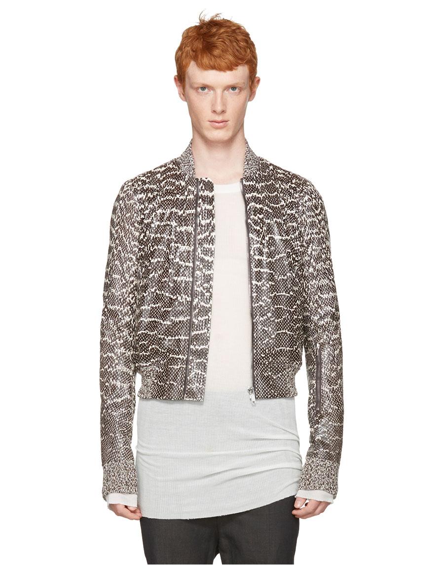 RICK OWENS Grey Glitter Flight Jacket