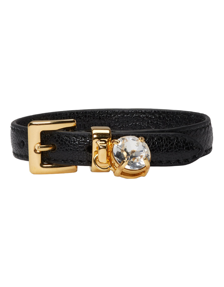 MIU MIU Black Crystal Belt Bracelet
