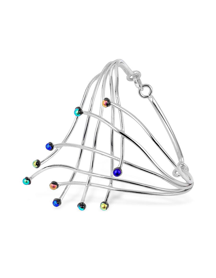 FORZIERI Fireworks Glass Stones Sterling Silver Cuff Bracelet