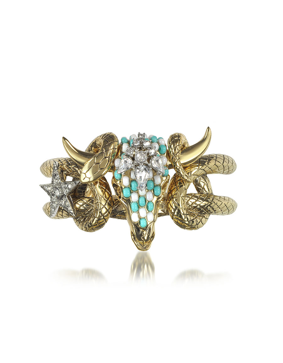 ROBERTO CAVALLI Goldtone Brass Bangle w/Crystals and Beads