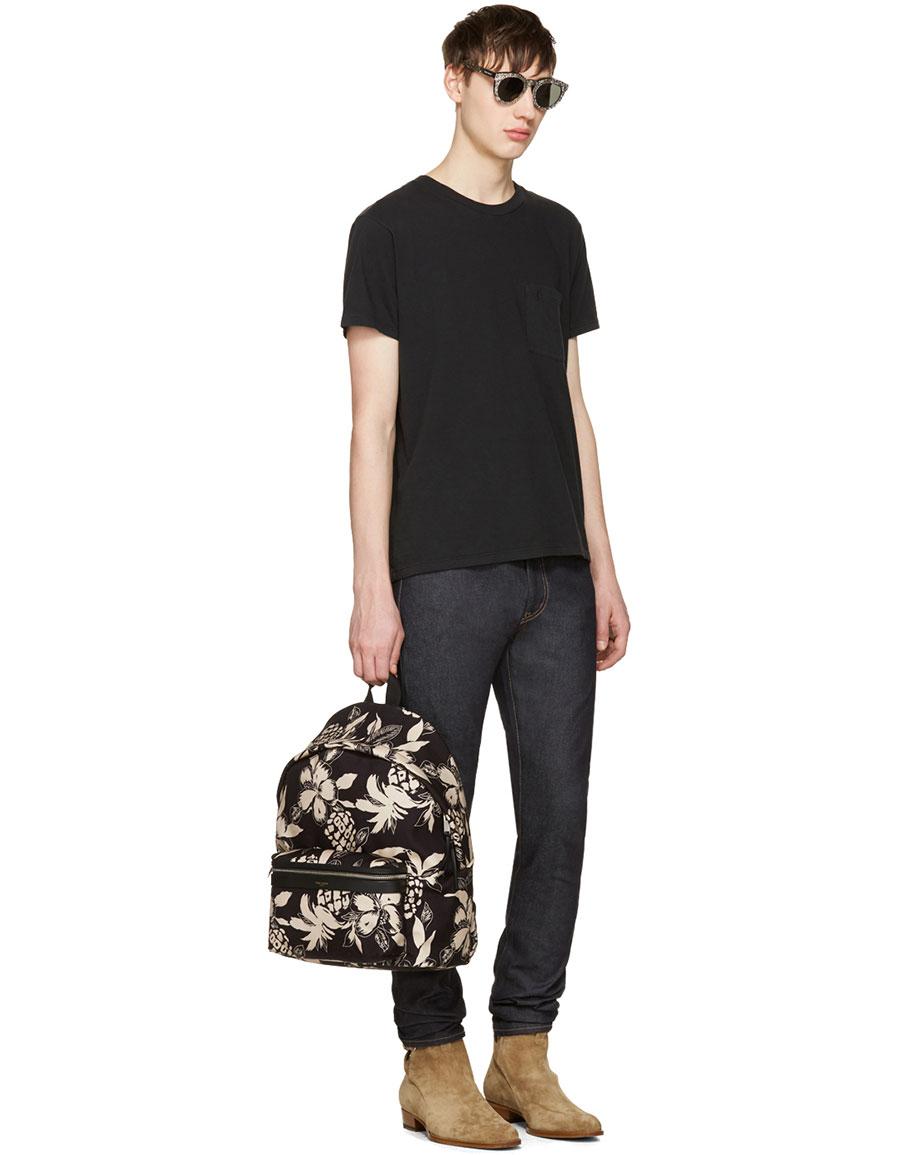 SAINT LAURENT Black & Off White Hibiscus City Backpack