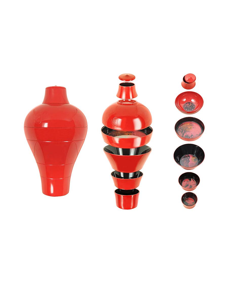 IBRIDE Red Ming Vase / Stackable Bowls · VERGLE