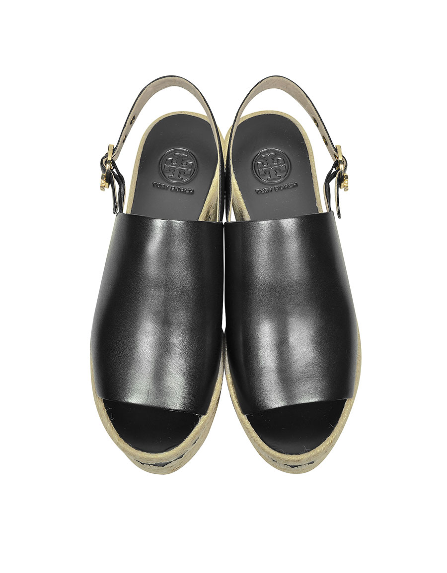 TORY BURCH Dandy Black Veg Leather Wedge Espadrille Sandal