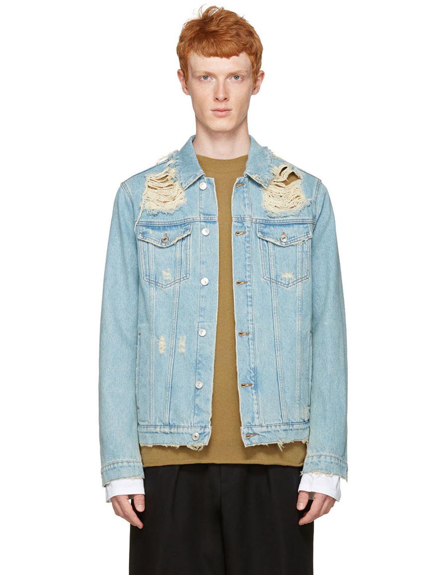 MSGM Blue Denim Destroyed Jacket