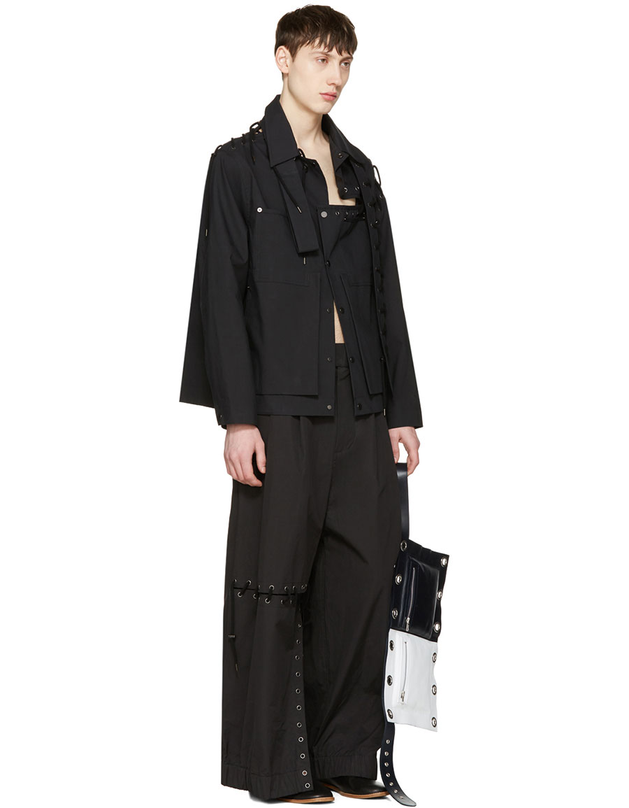 CRAIG GREEN Black Laced Trousers