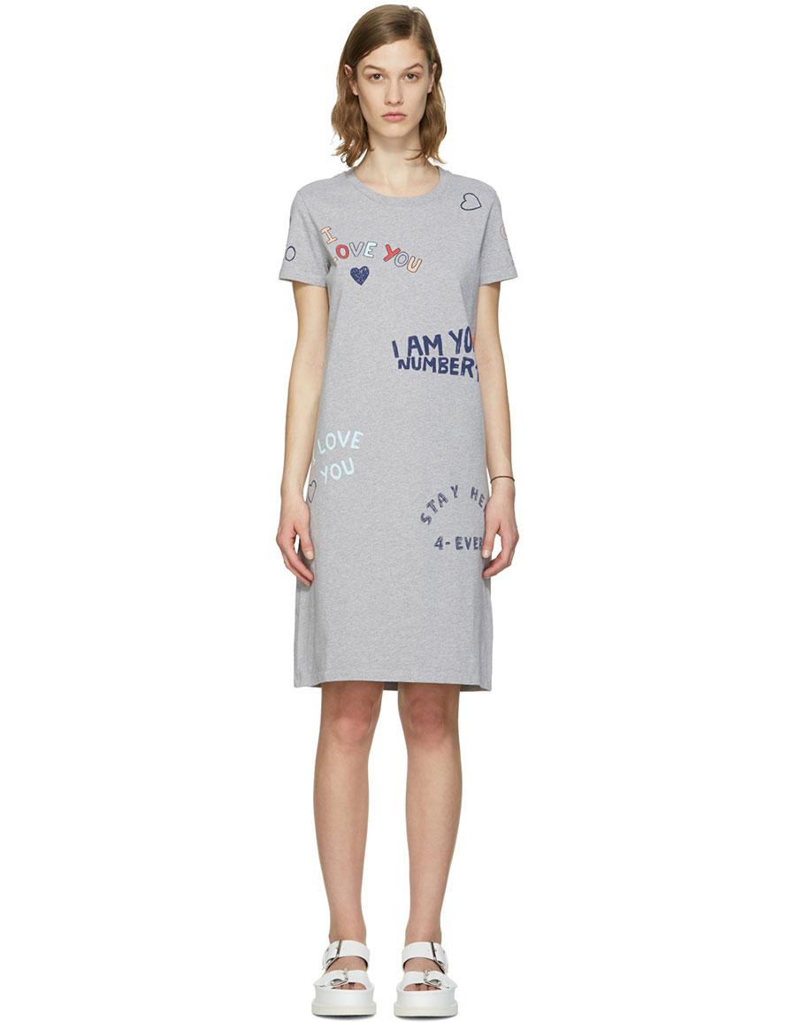 f77f81e390e12 KENZO Grey Valentines Text Dress · VERGLE